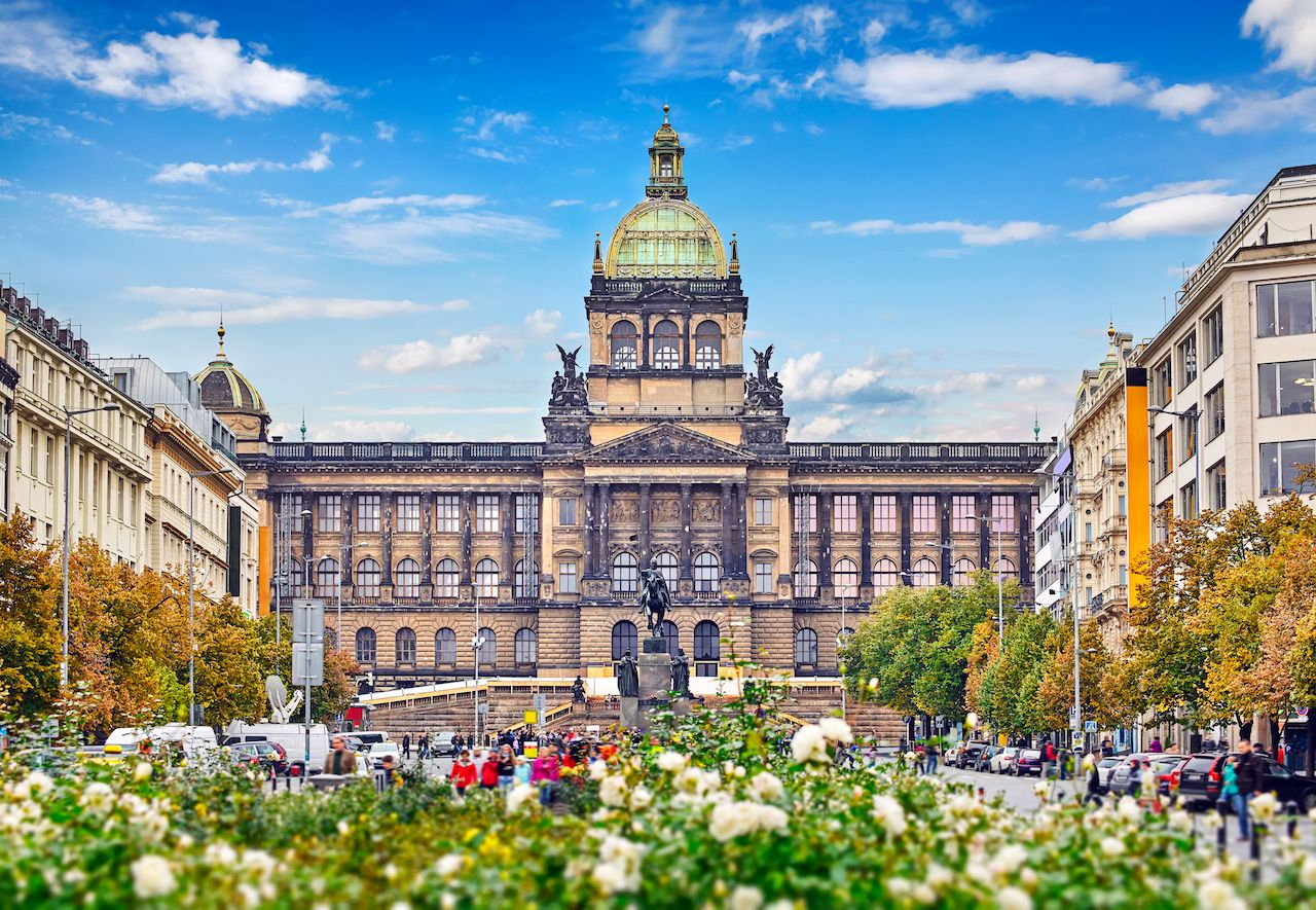 Prague national museum building at Wenceslas Square Czech Republic