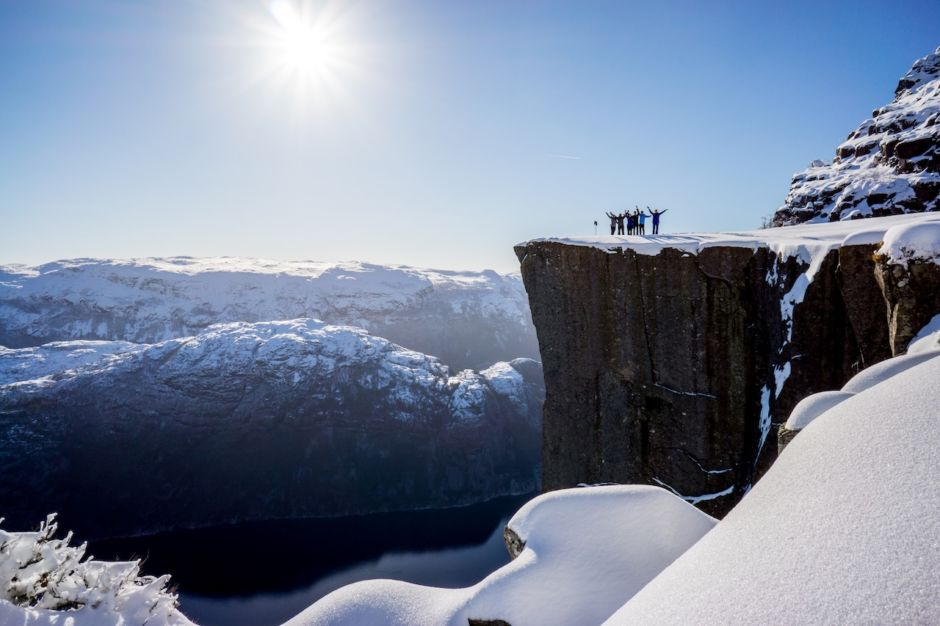 Preikestolen Winter Hike Fjord Norway