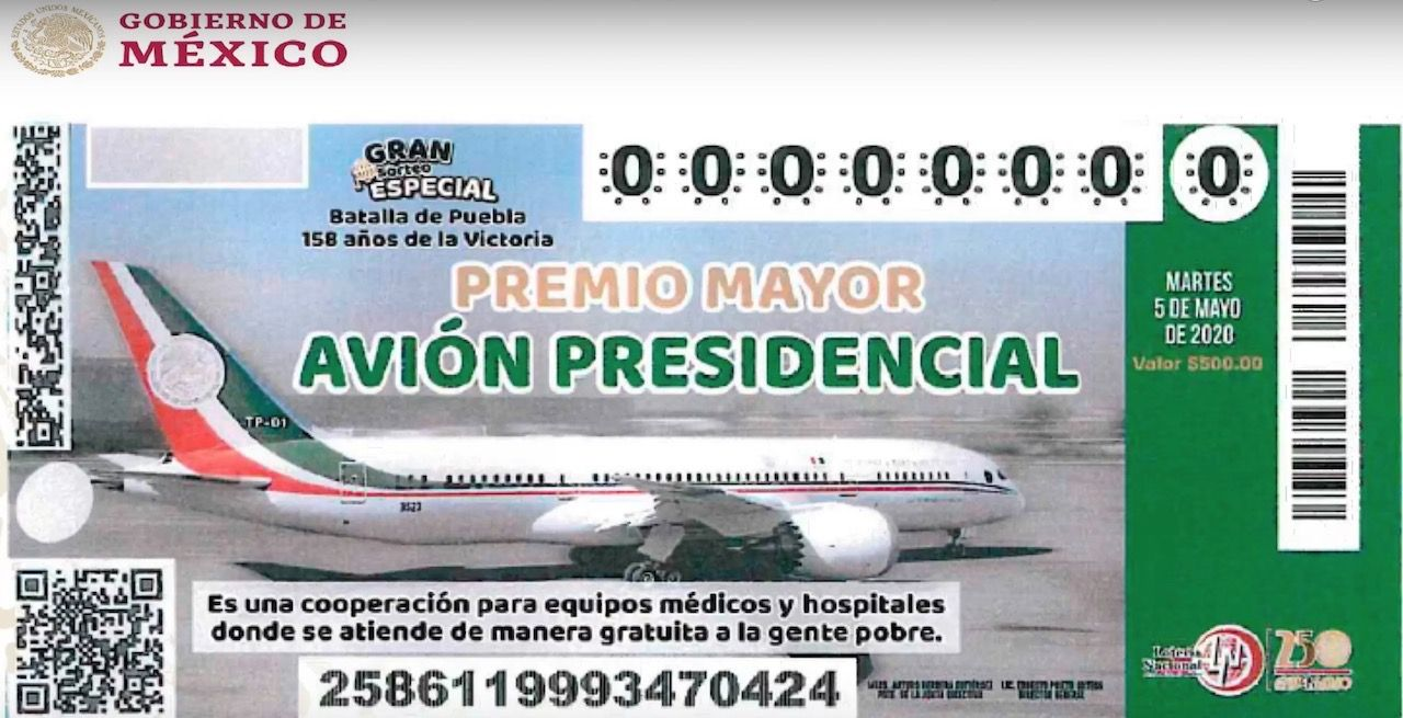 Raffle ticket for Mexican presidential aircraft