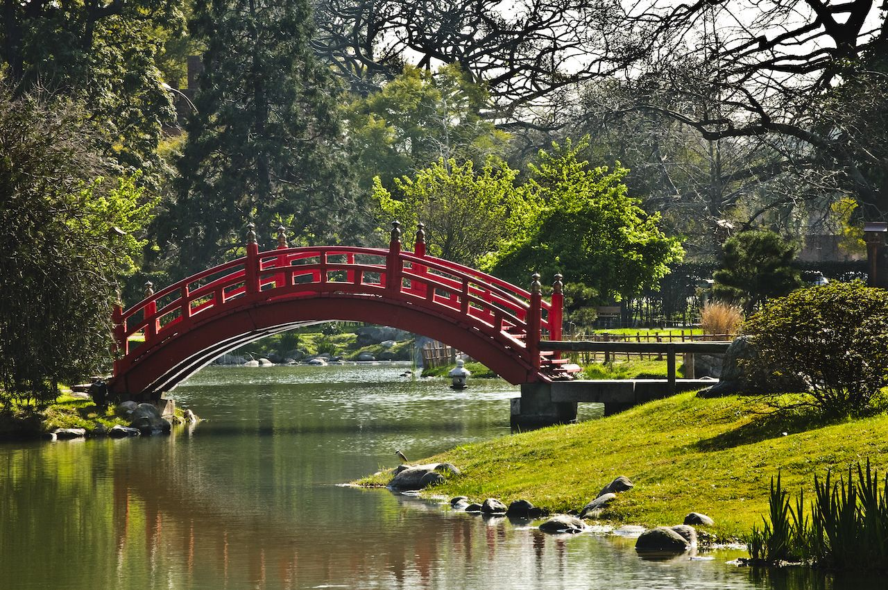 Red bridge in Japanese Garden in Buenos Aires, Argentina