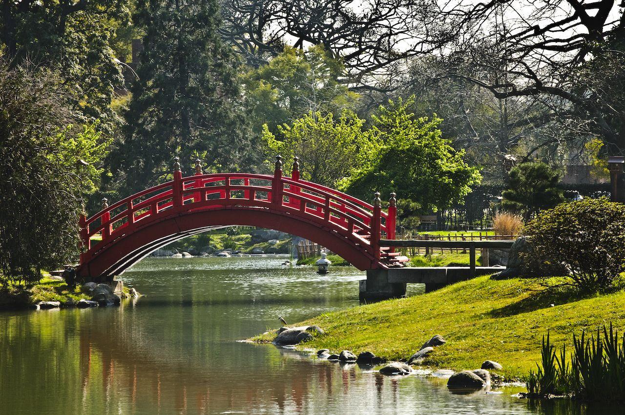 Red bridge in Japanese Garden in Buenos Aires, Argentina