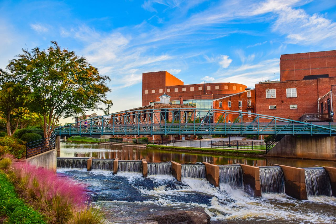 Reedy River Bridge and Wyche Pavilion Peace Center in downtown Greenville, South Carolina