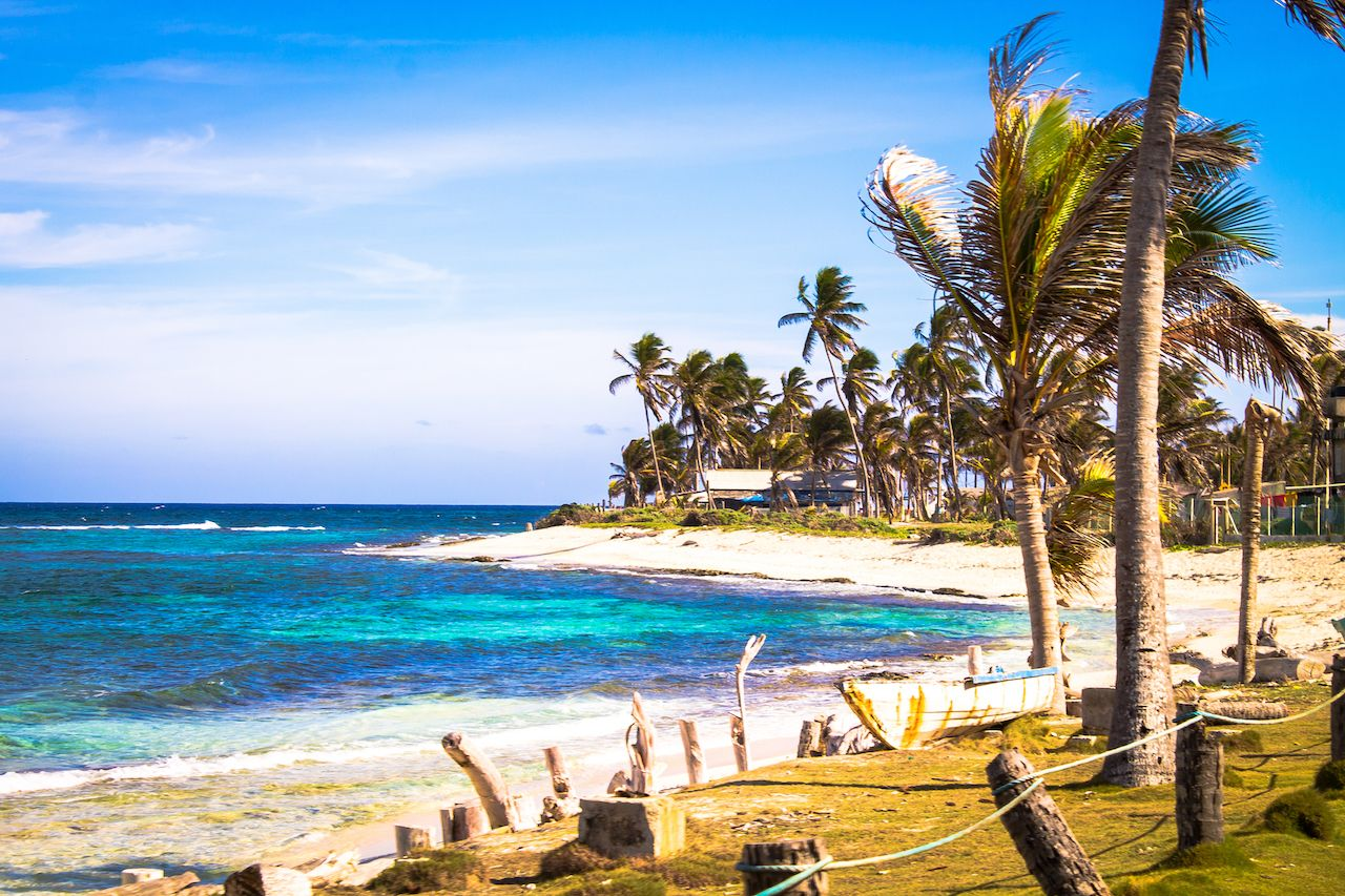 San Andres Island, Colombia, beach with palm trees