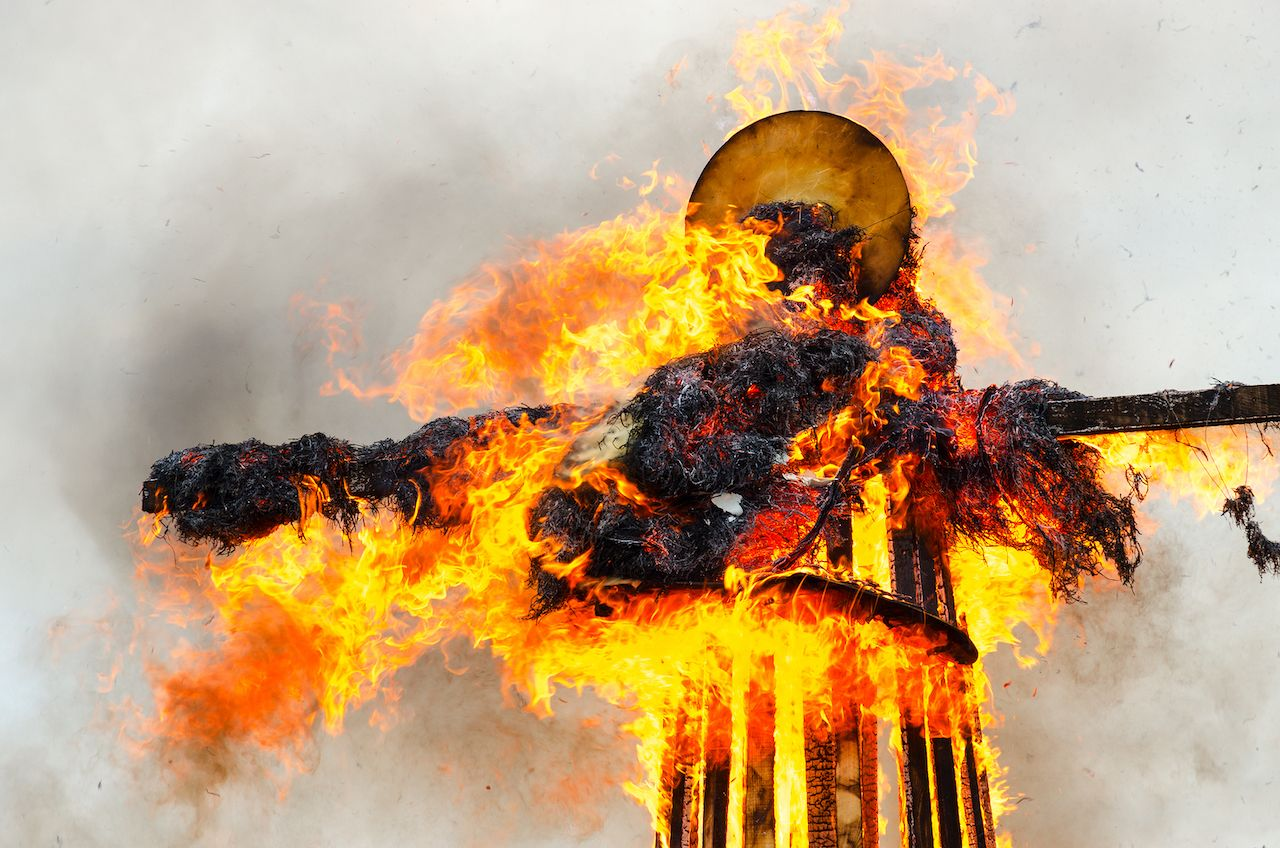 Scarecrow of Shrovetide on fire