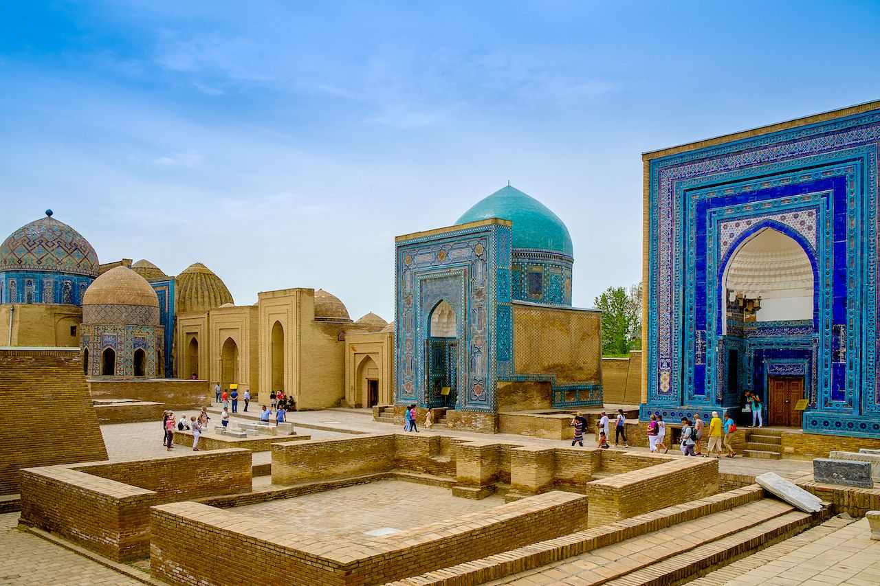 Shah-I-Zinda memorial complex, necropolis in Samarkand, Uzbekistan