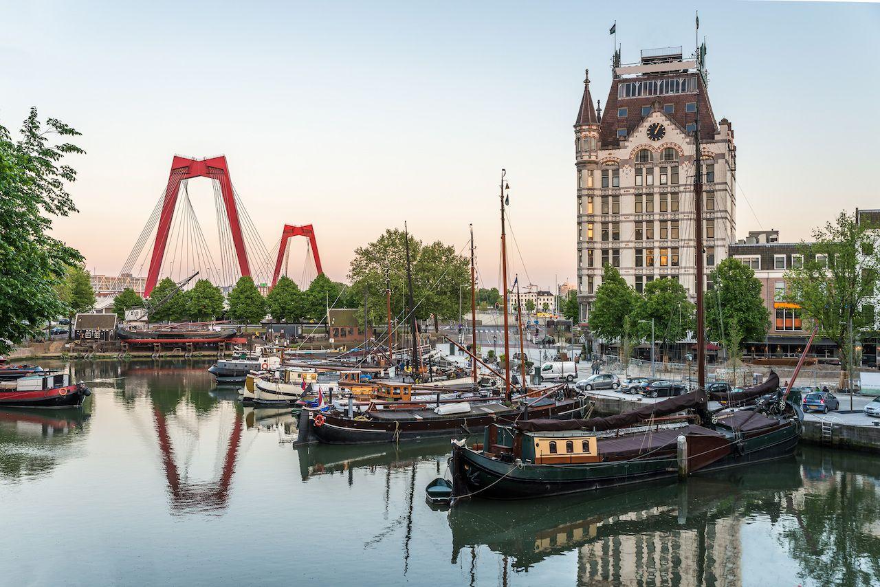 Shipyard, dock, and bridge in Rotterdam, Netherlands