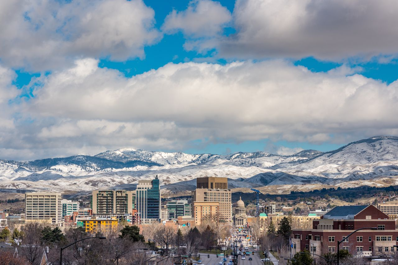 Skyline of Boise with snow in the foothills