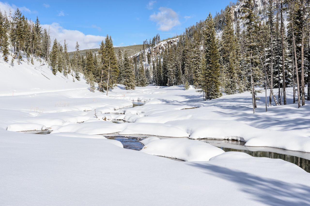 Snow and River in Yellowstone, Wyoming