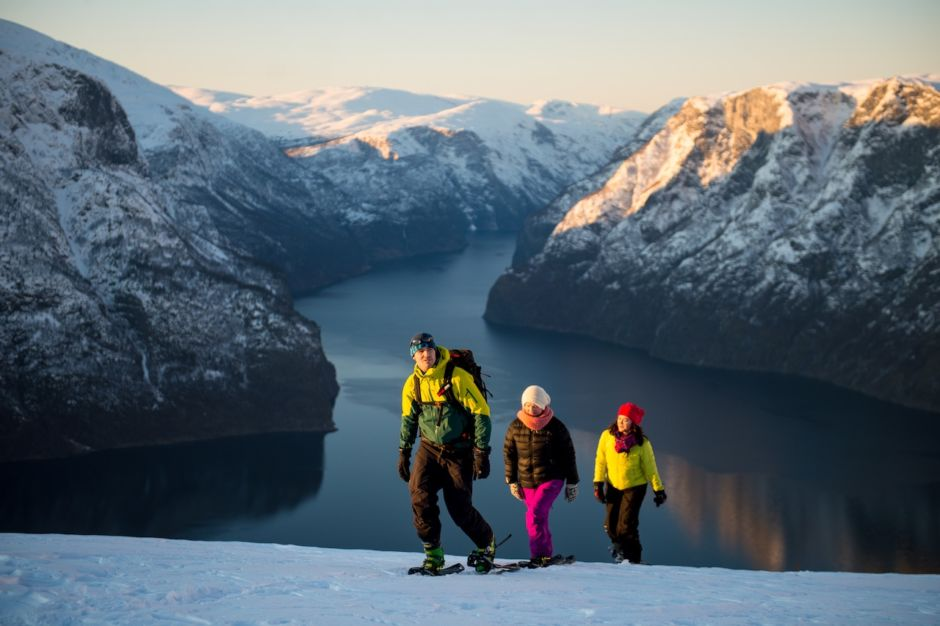 Snowshoeing Stegastein Viewpoint Fjord Norway