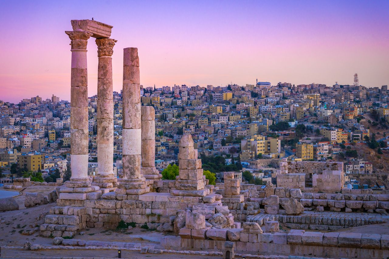 Sunset on Skyline of Amman and old town of Jordan