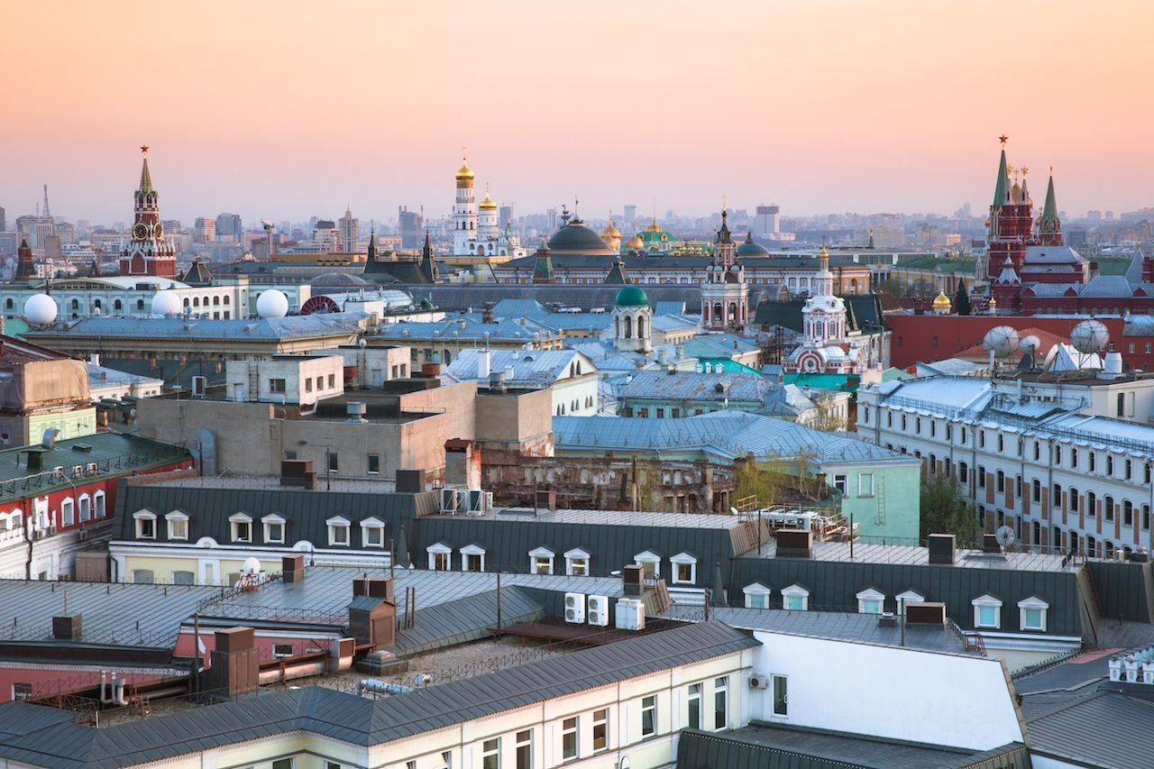 Sunset view of Moscow with beautiful Kremlin together
