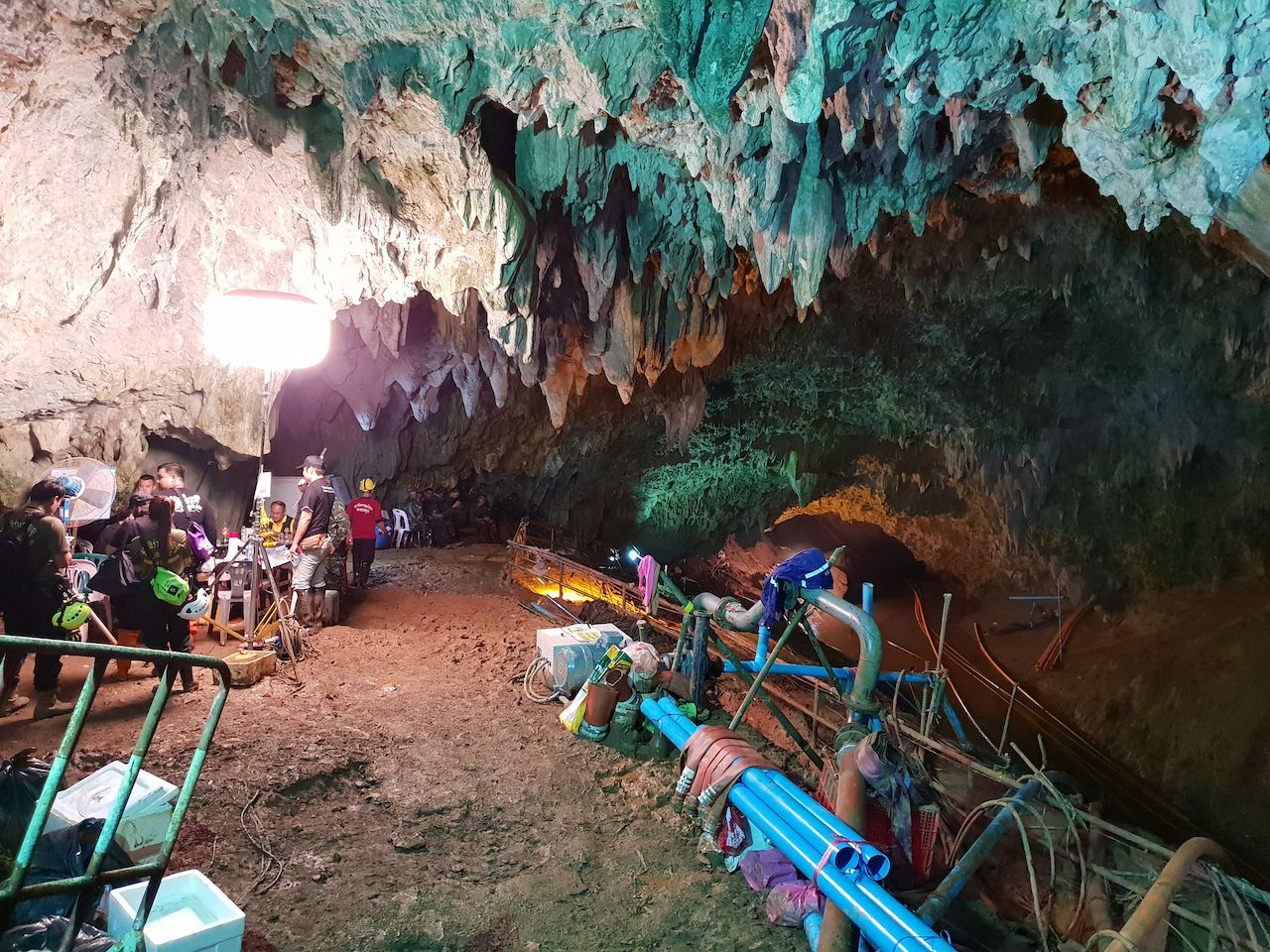 Tham Luang Nang Non cave network in Thailand during the rescue event of 12 members of a junior football team