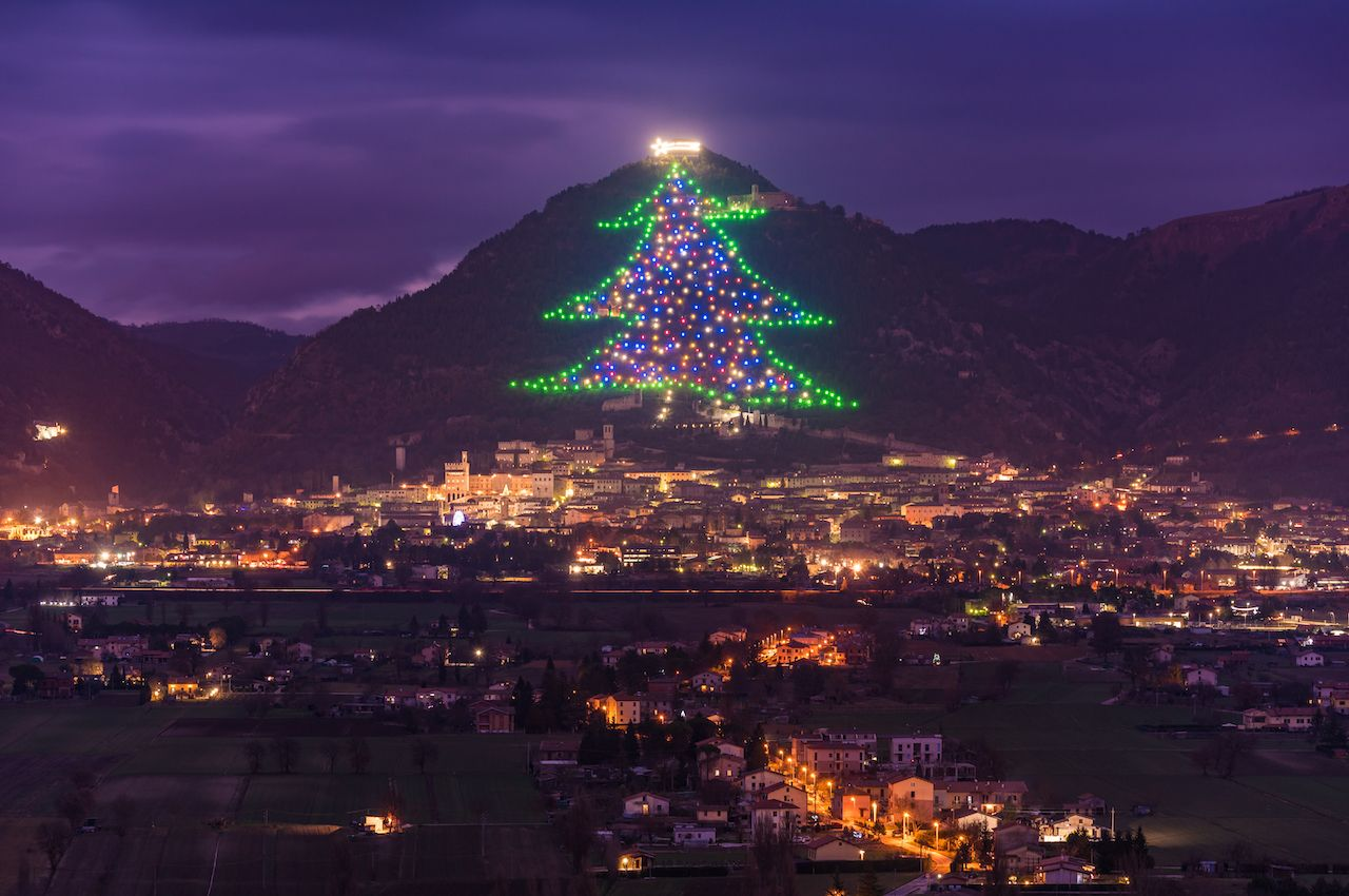 The biggest Christmas tree in the world in Gubbio, Italy