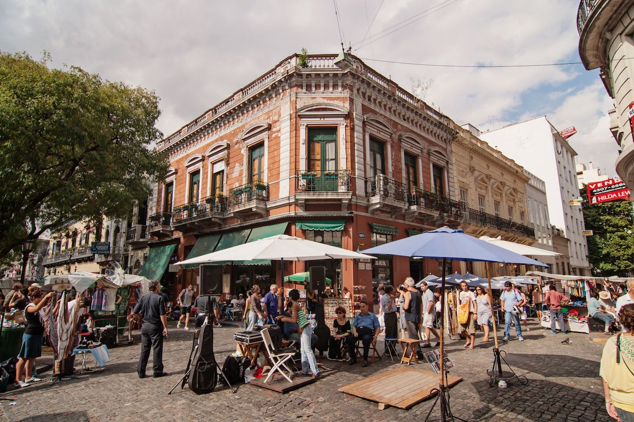 The flea market in San Telmo in Buenos Aires, Argentin