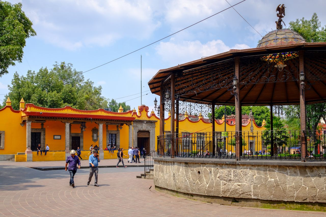 The main square and the town hall in Coyoacan, Mexico City
