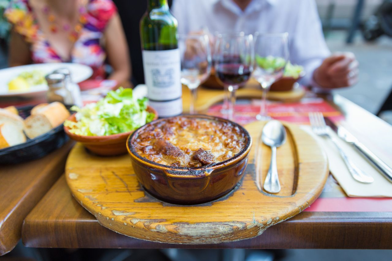 Traditional Cassoulet dish served at a Toulouse restaurant, France