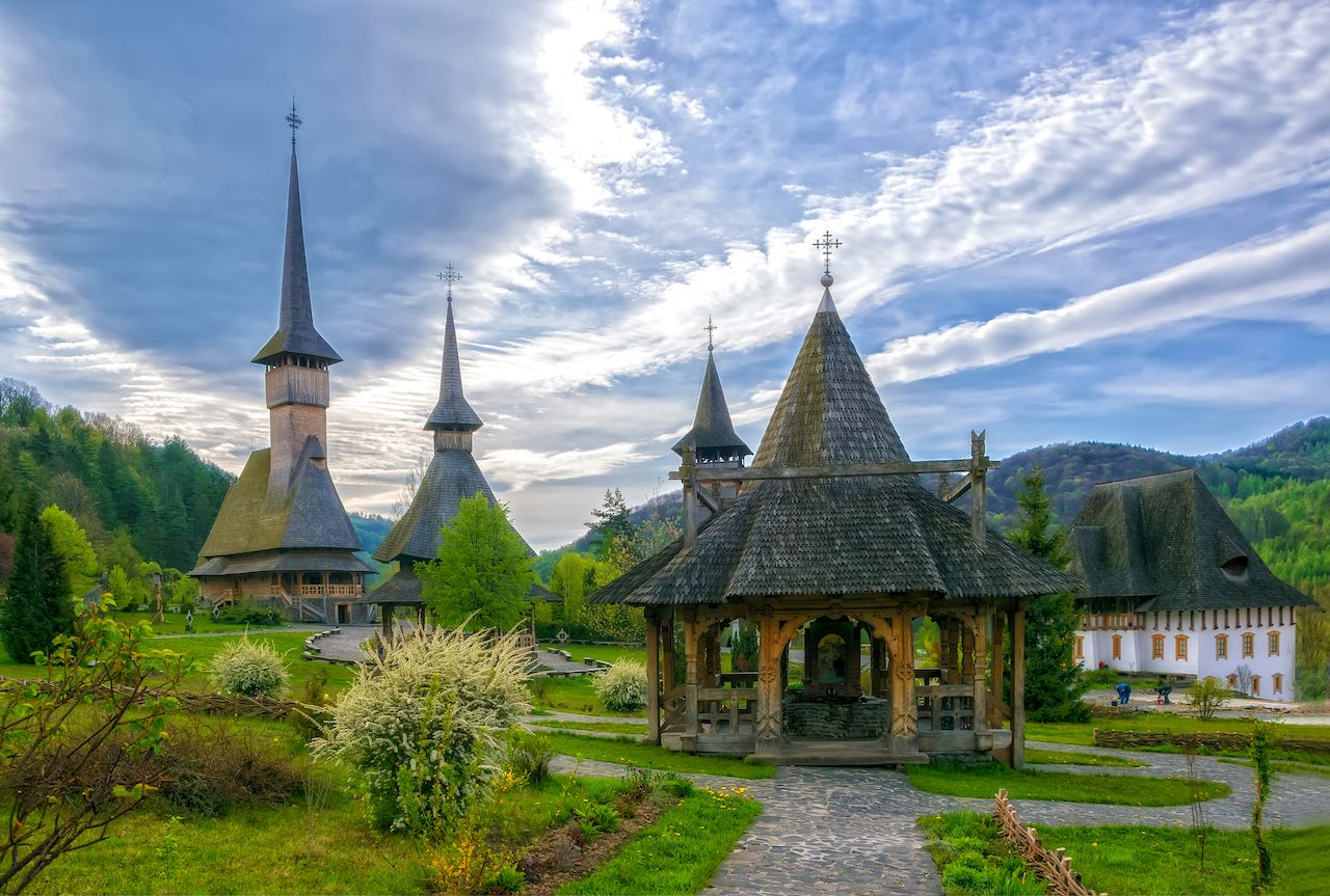 Traditional Maramures wooden architecture of Barsana monastery, Romania