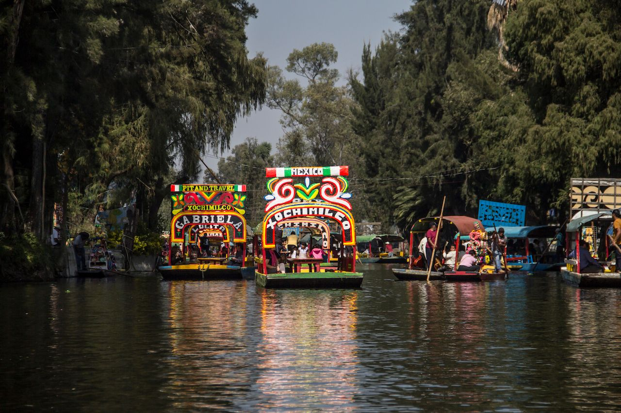 Traditional Mexican trajineras in Xochimilco, Mexico City