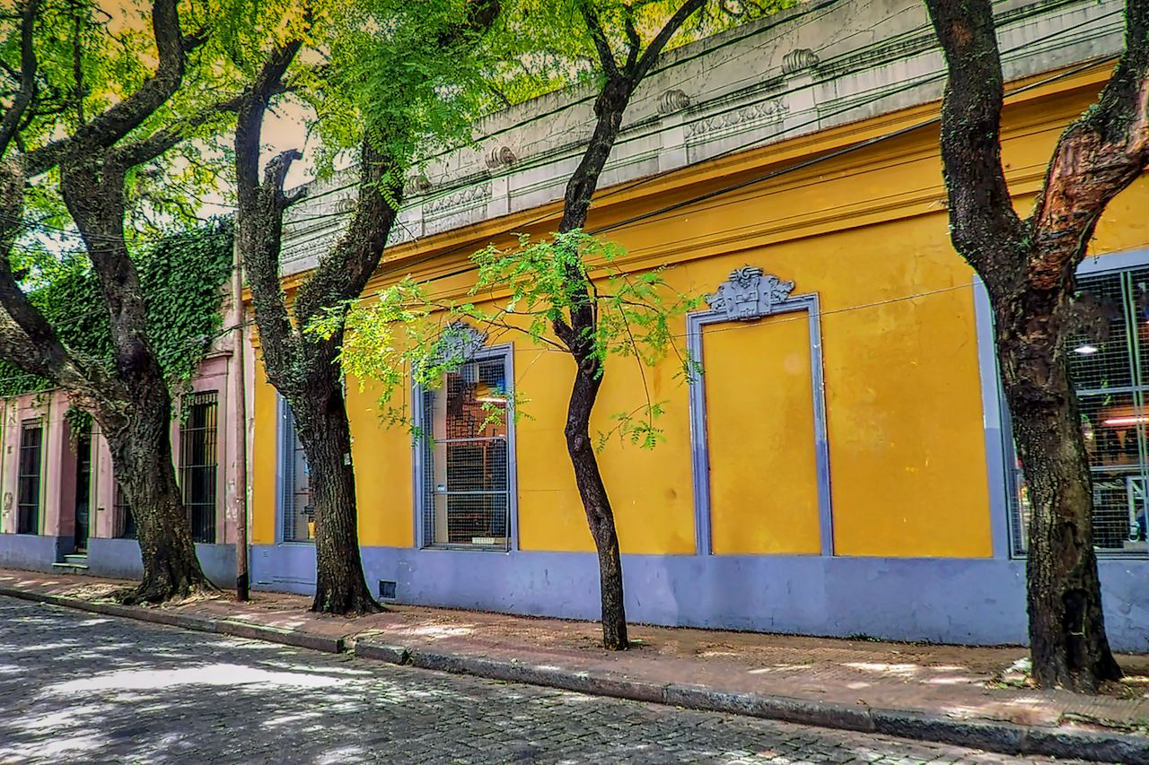 Traditional colonial architecture in San Isidro residential neighborhood north of Buenos Aires, Argentina