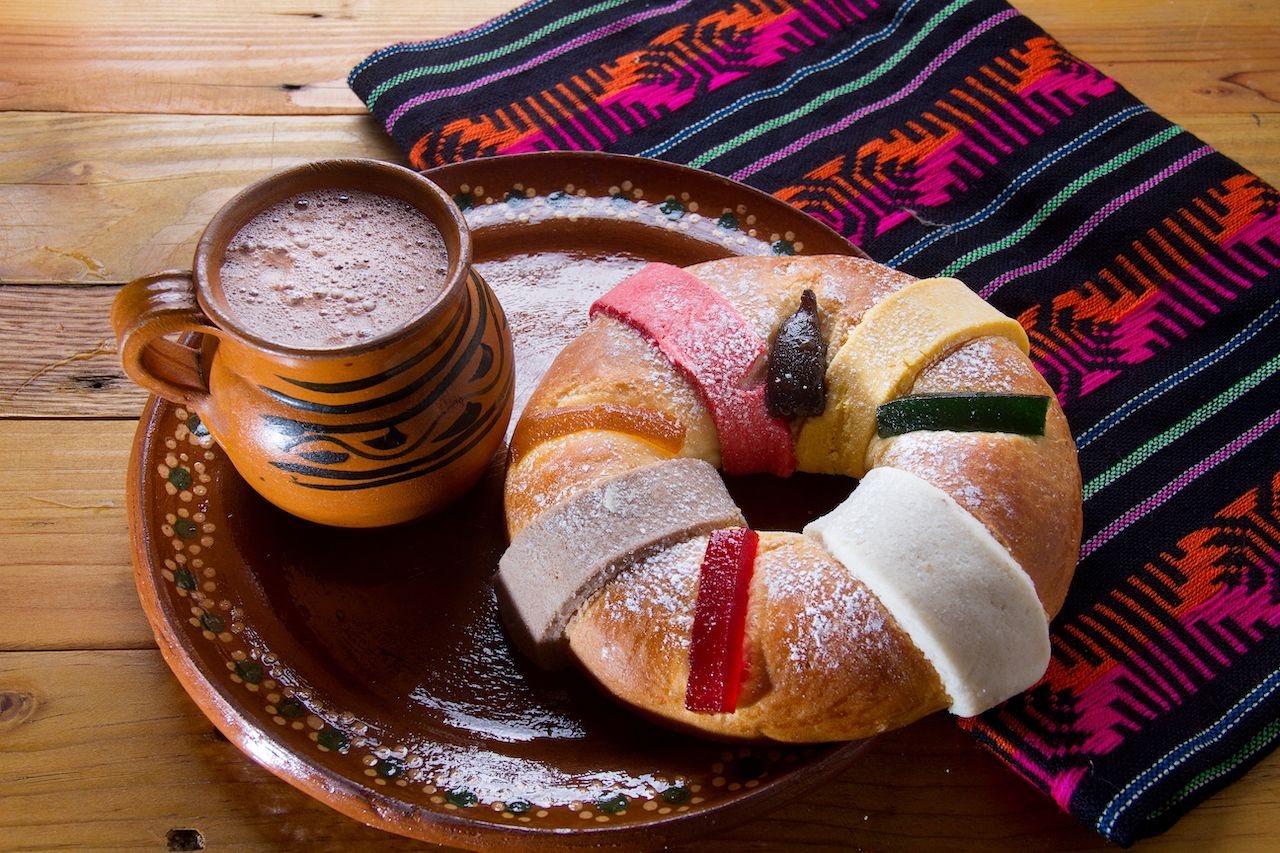 Traditional mexican rosca de reyes and hot chocolate