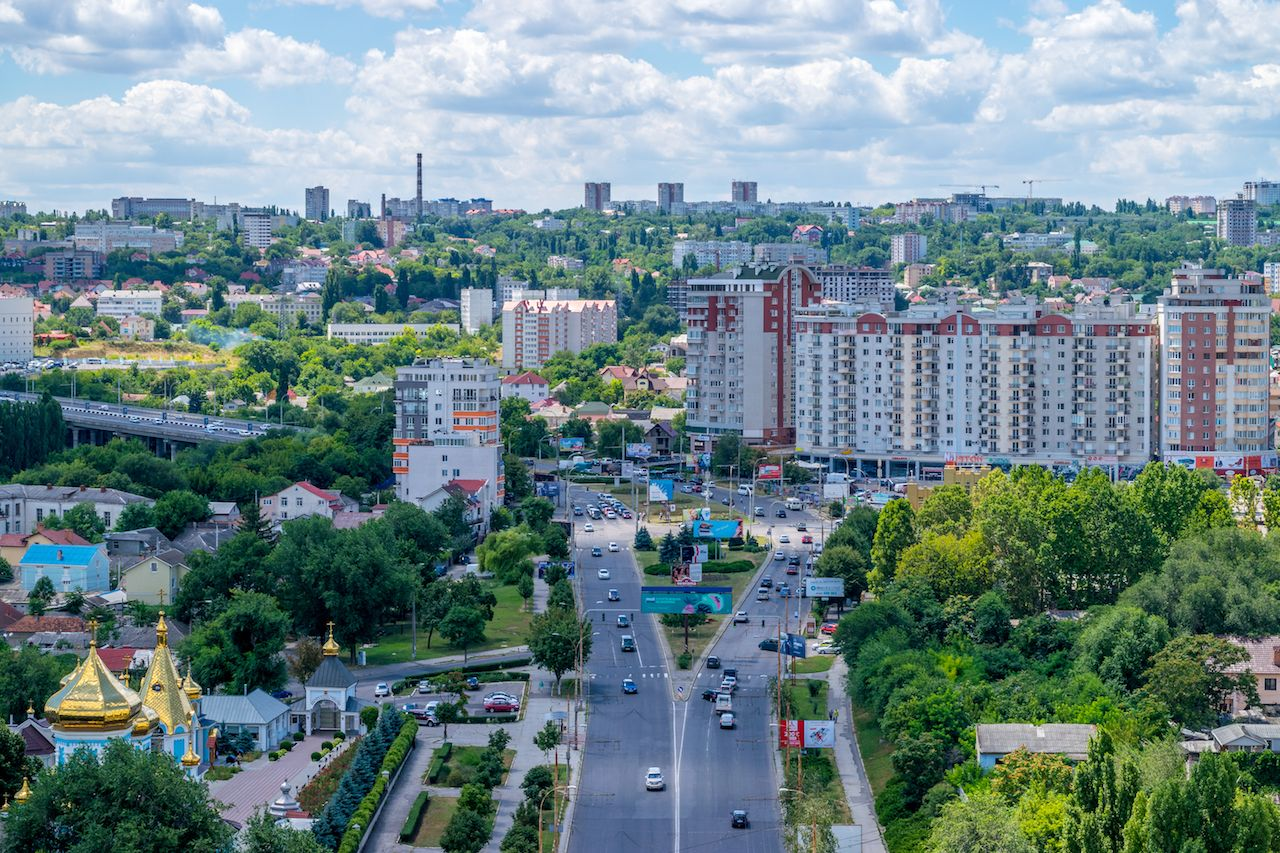 Traffic artery of a green city, Chisinau, Moldova