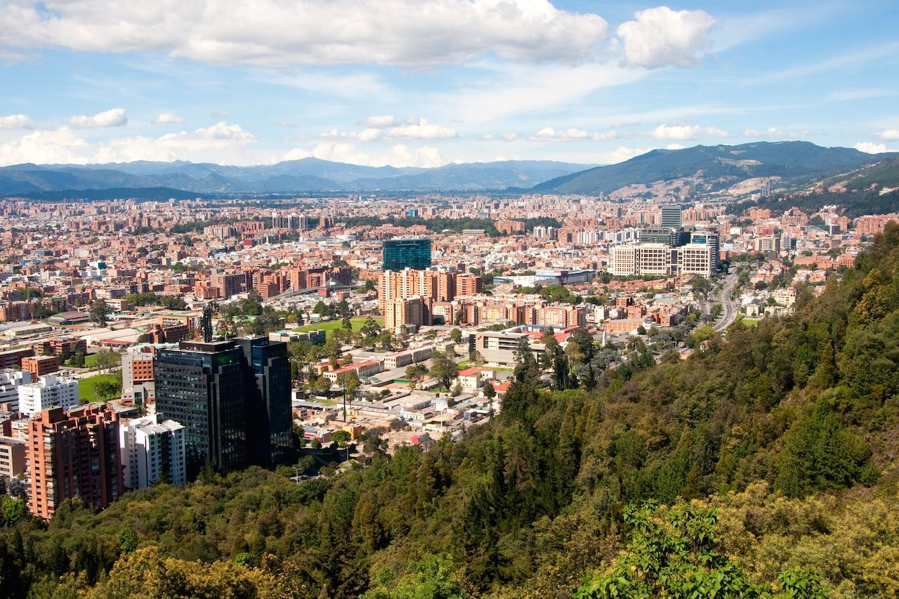 View of Bogota as seen from the mountains in the north of the capital
