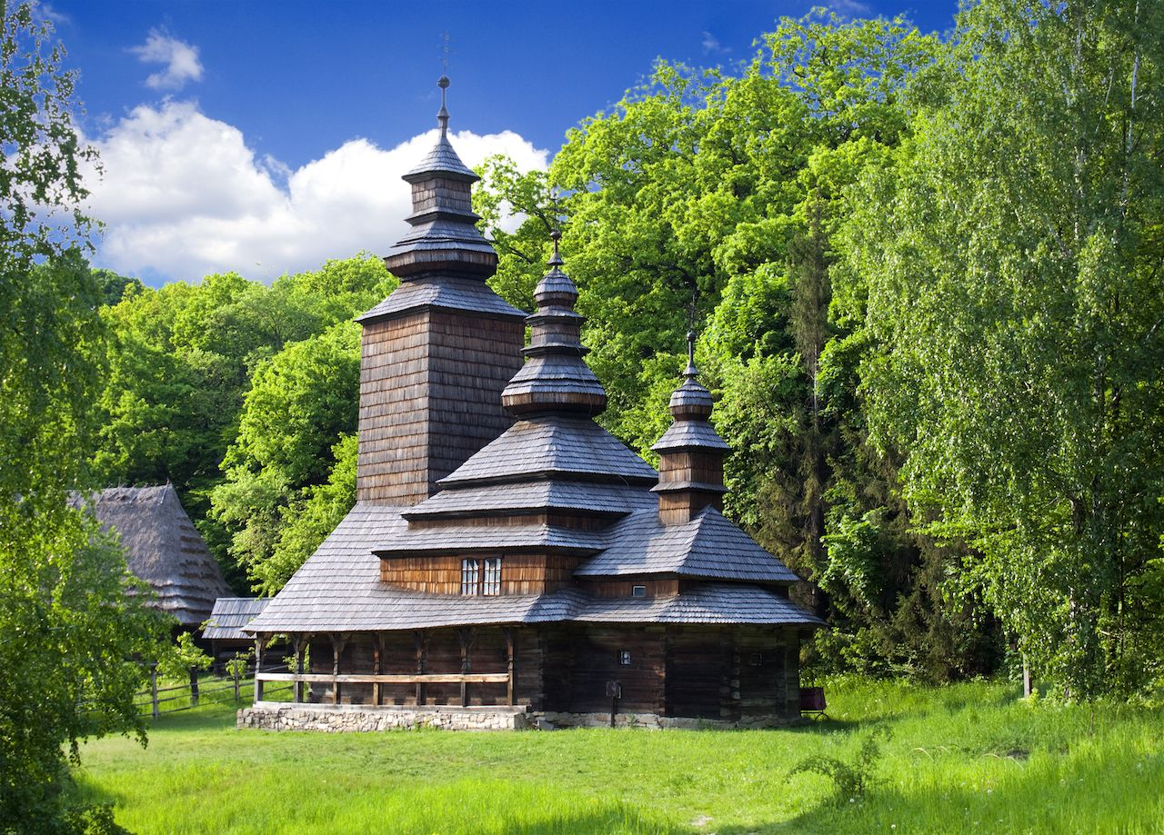 View of an old church in village in Pirogovo museum, Ukraine