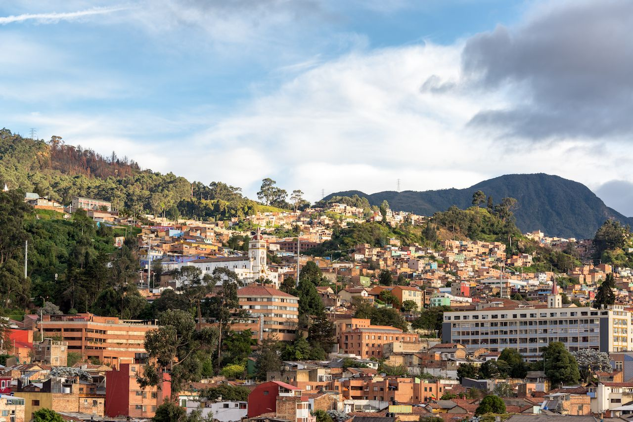 View of the neighborhoods of La Candelaria and Egipto in the historic center of Bogota, Colombia