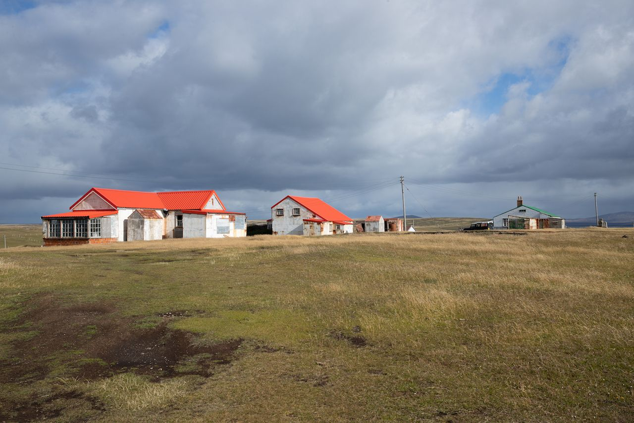 White houses with red roofs in the Pebble Island settlement