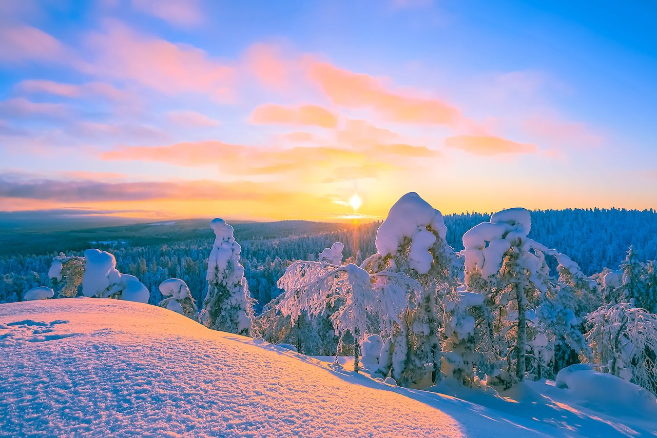 Winter sunset landscape from Sotkamo, Finland