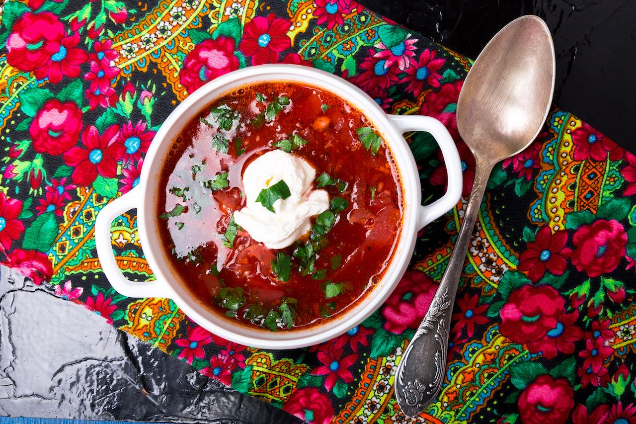 bowl of borscht traditional beetroot soup