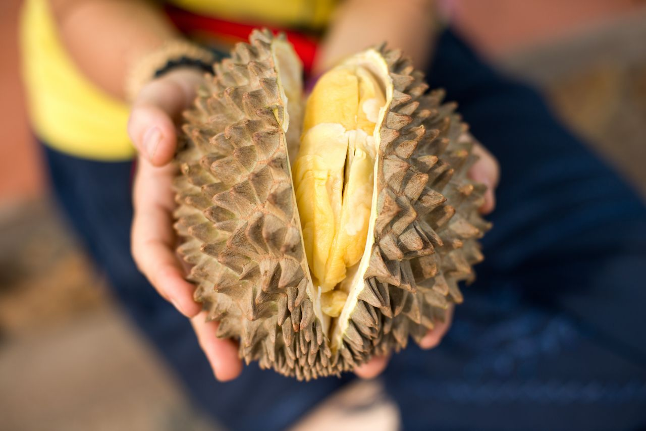 Tasting durian for the first time