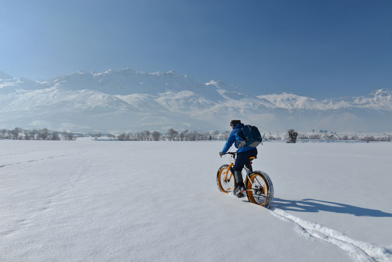fat biking through the snow