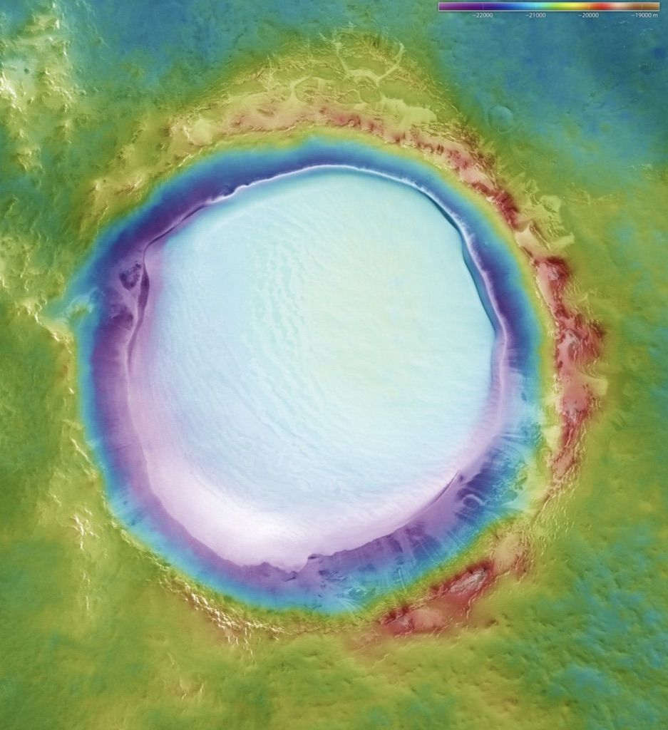 ice crater on mars