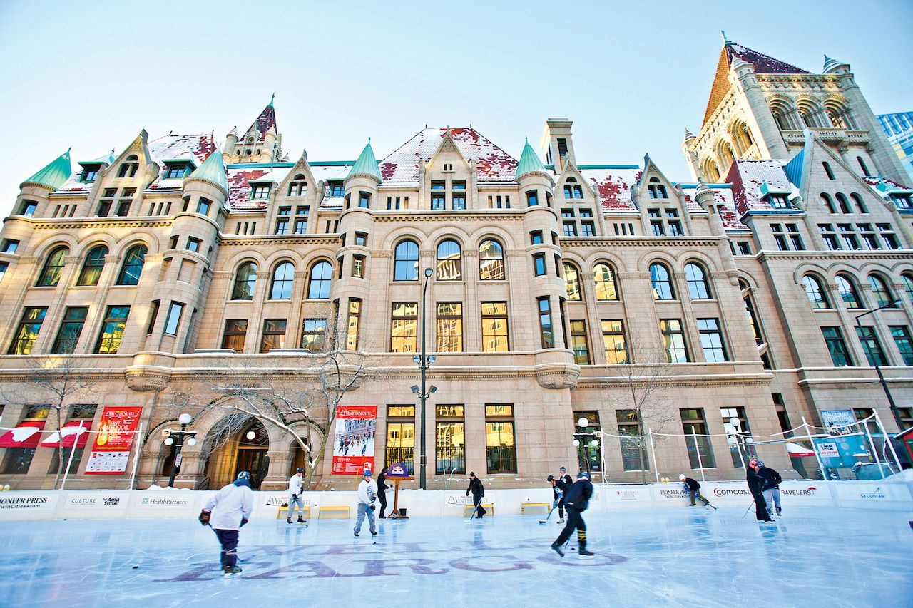wells fargo winterskate ice skating rink in saint paul, minnesota