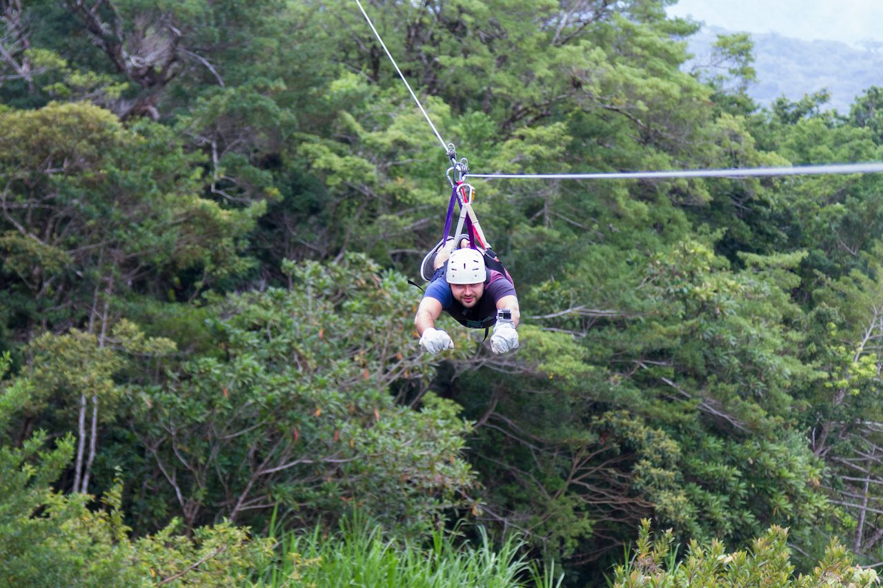 zip lining through the Costa Rican forest