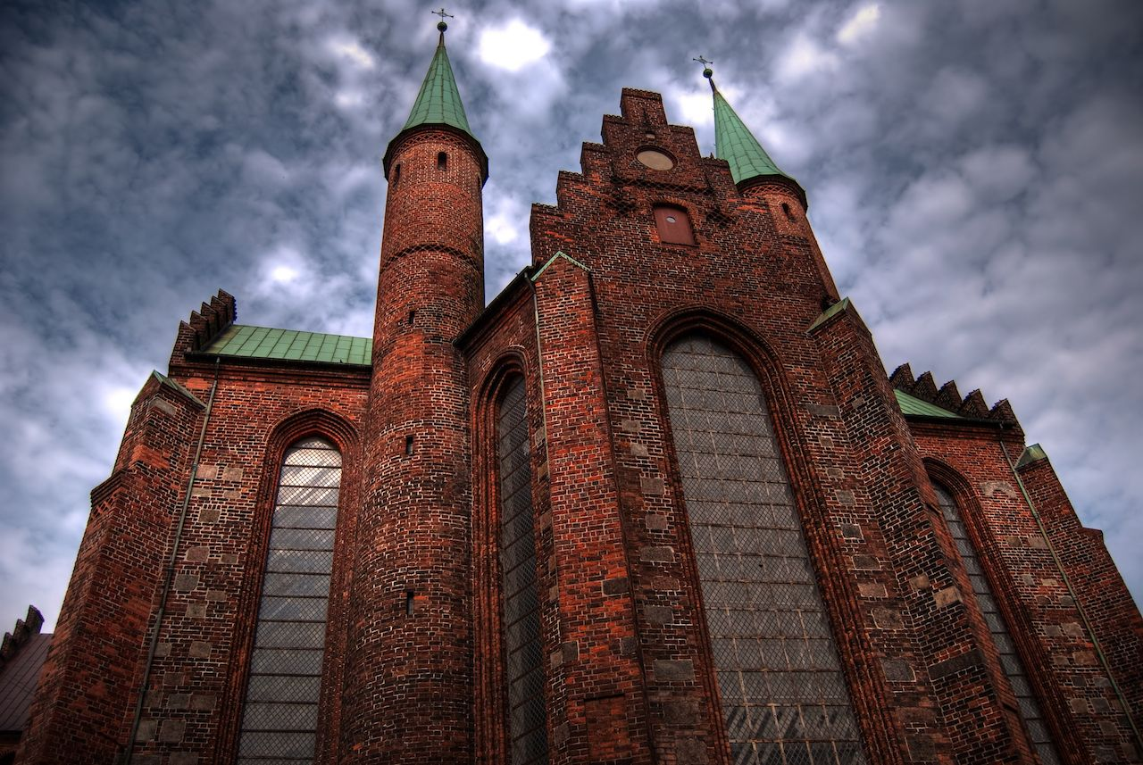 A high dynamic range image of a large church in the center of Aarhus town in Denmark