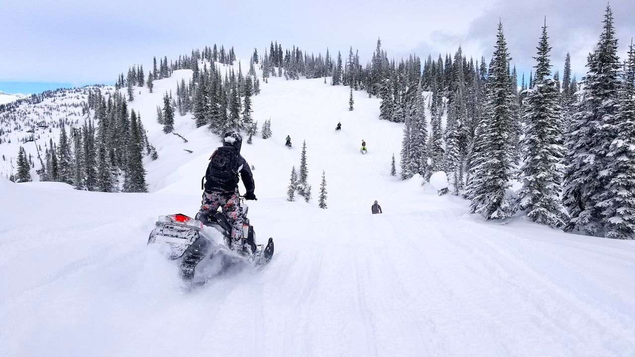 A snowmobile in the Monashees near Revelstoke, Canada