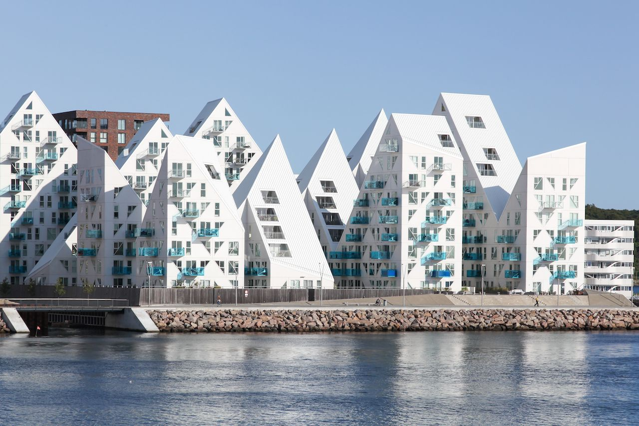 Aarhus harbor and view of the Iceberg building from the sea in Aarhus, Denmark