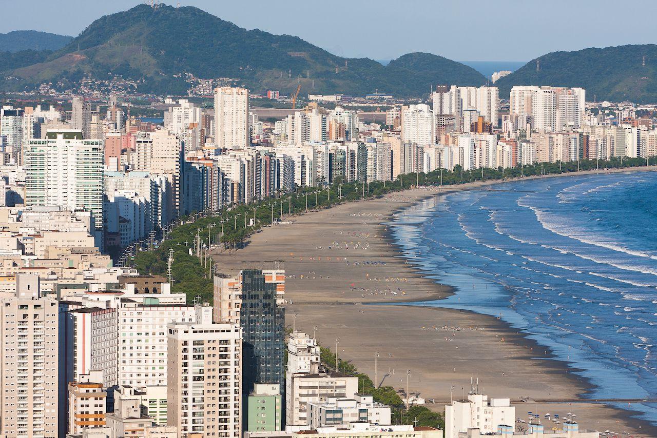 Aerial view of Santos, Brazil
