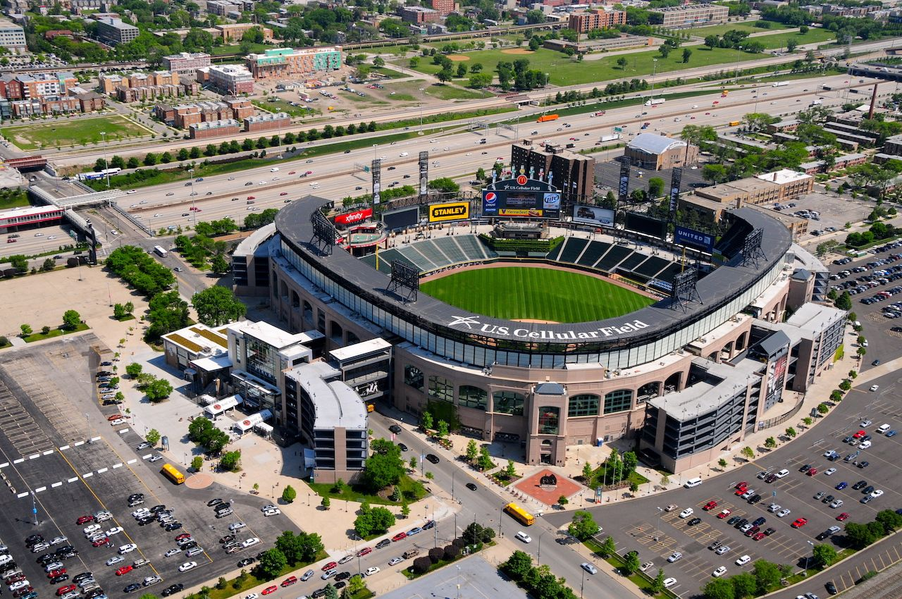 Aerial view of US Cellular Field in Chicago
