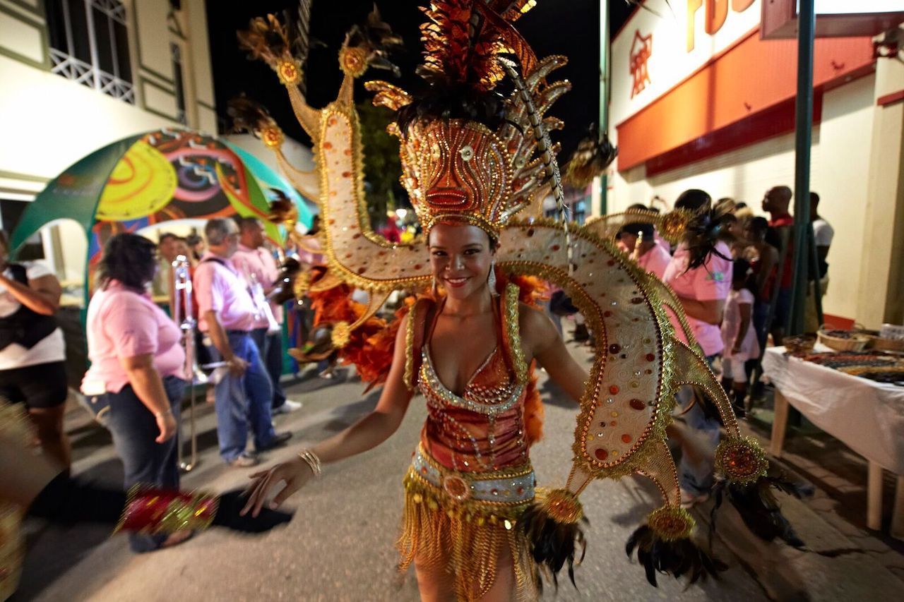 Aruban woman in sparkly costume during February festival
