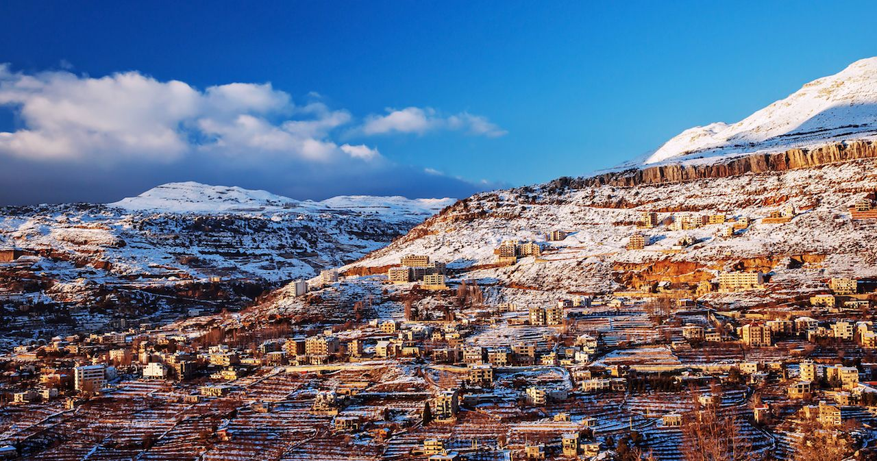 Beautiful landscape of mountainous Lebanese ski town in winter