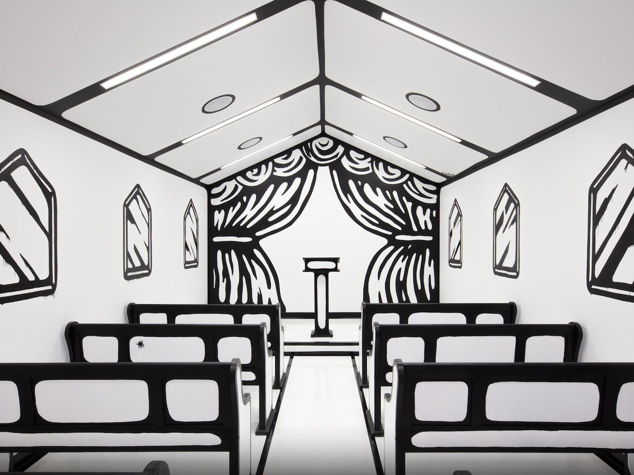Black-and-white cartoon chapel