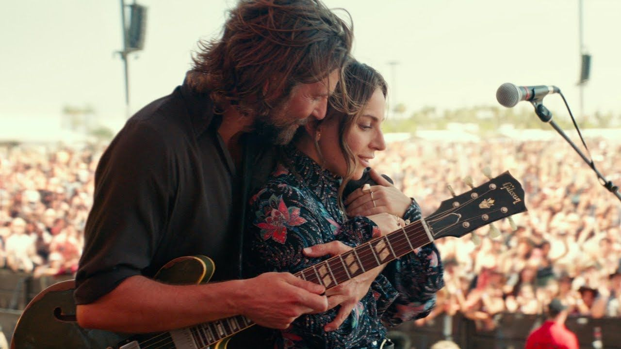 Bradley Cooper and Lady Gage on stage in A Star is Born