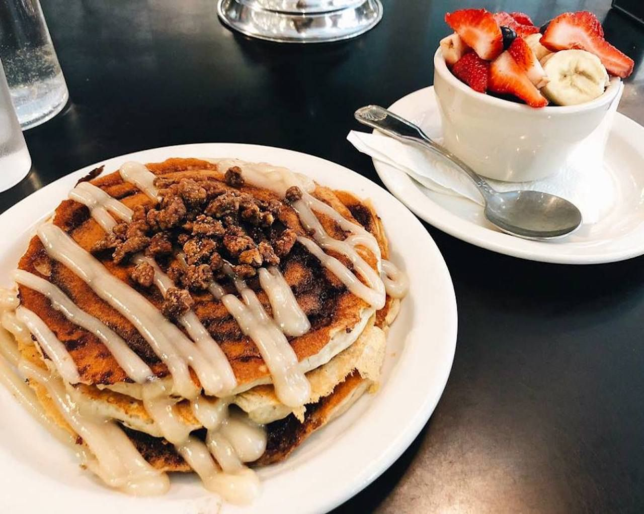 Champs Diner vegan pancakes with fresh fruit