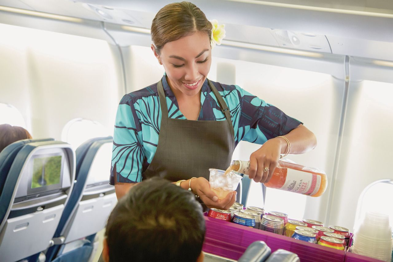 Complimentary Koloa Rum Punch on Hawaiian airlines
