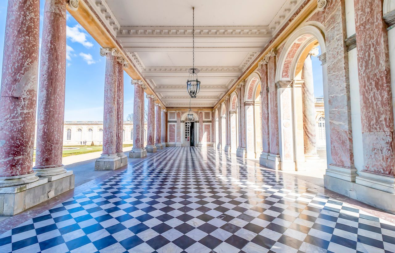 Corridors of the Grand Trianon in the Palace of Versailles, France