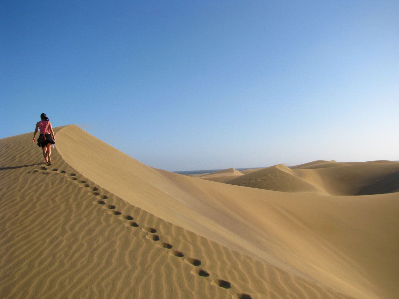 Desert walk on sand dunes in Gran Canaria