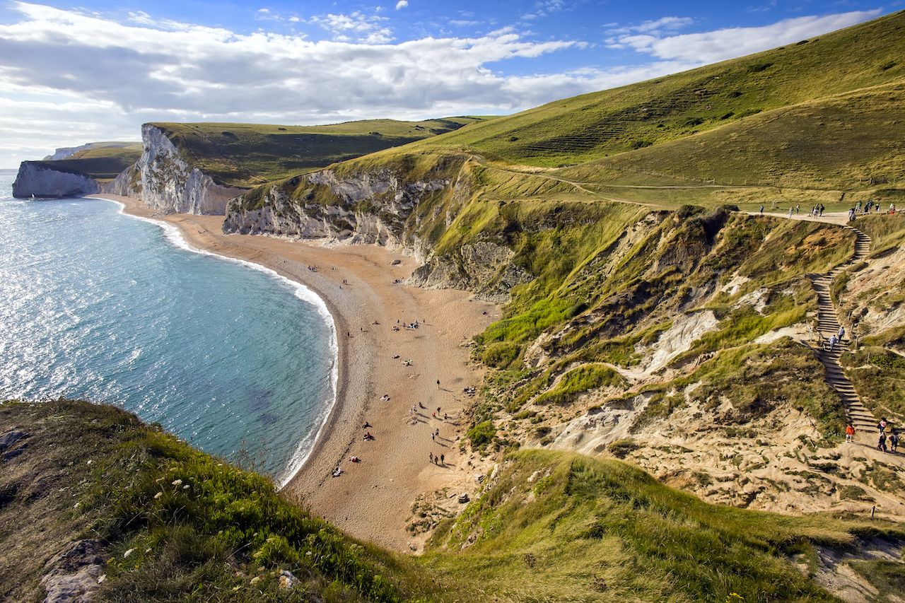 Dorset coastline looking towards Durdle Door, United Kingdom